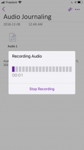 Using OneNote for audio journaling