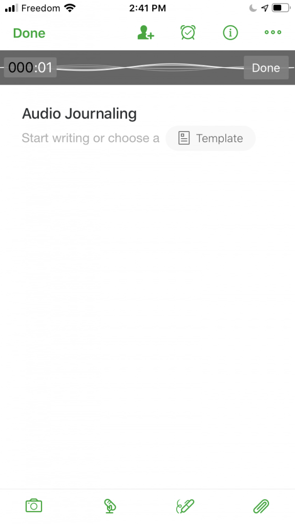 Audio journaling with evernote